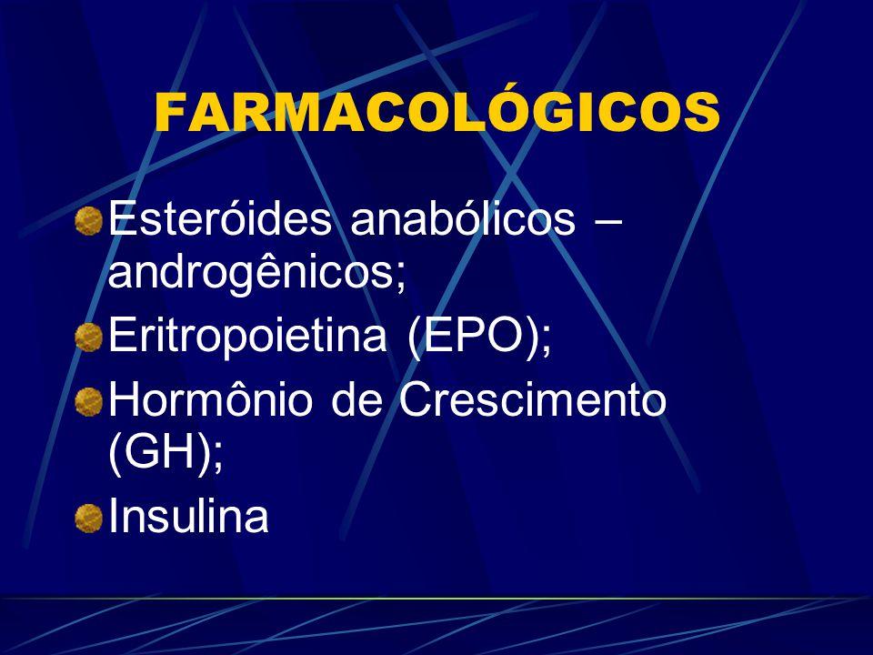 FARMACOLÓGICOS Esteróides anabólicos – androgênicos;