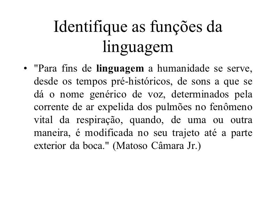 Identifique as funções da linguagem