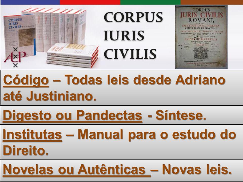 Código – Todas leis desde Adriano até Justiniano.