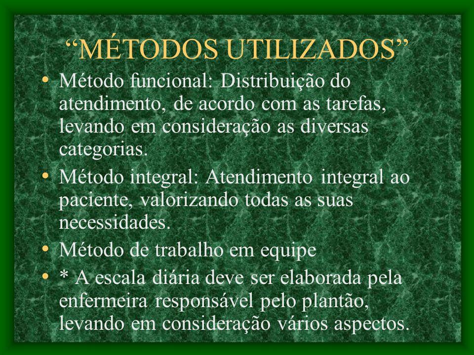 MÉTODOS UTILIZADOS Método funcional: Distribuição do atendimento, de acordo com as tarefas, levando em consideração as diversas categorias.