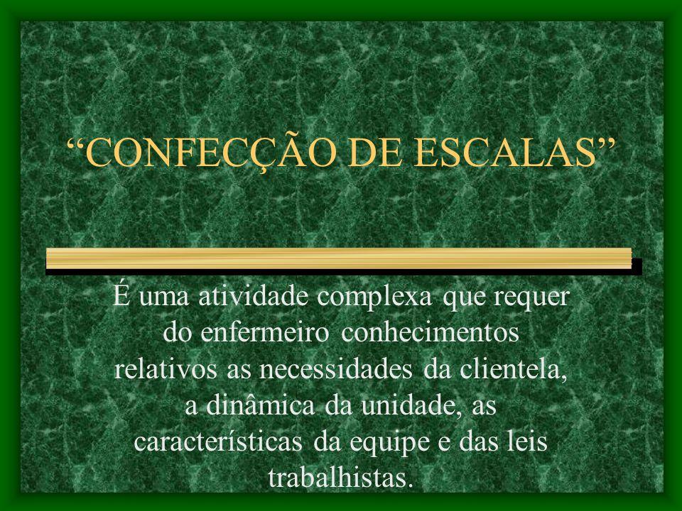 CONFECÇÃO DE ESCALAS