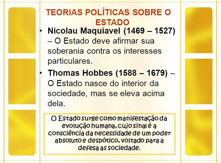 TEORIAS POLÍTICAS SOBRE O ESTADO