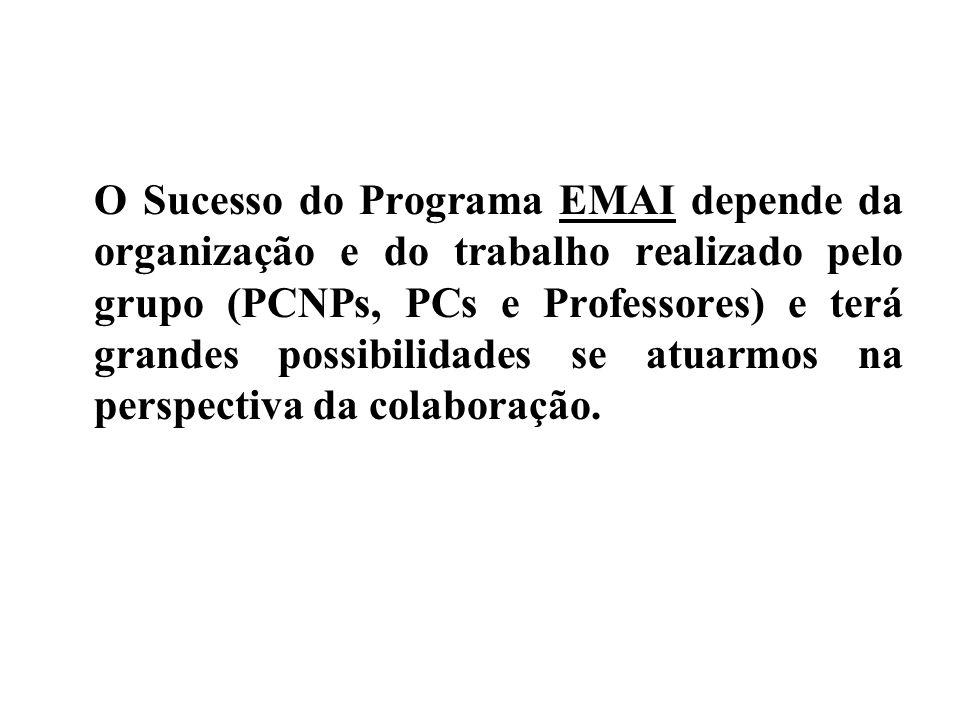 O Sucesso do Programa EMAI depende da organização e do trabalho realizado pelo grupo (PCNPs, PCs e Professores) e terá grandes possibilidades se atuarmos na perspectiva da colaboração.