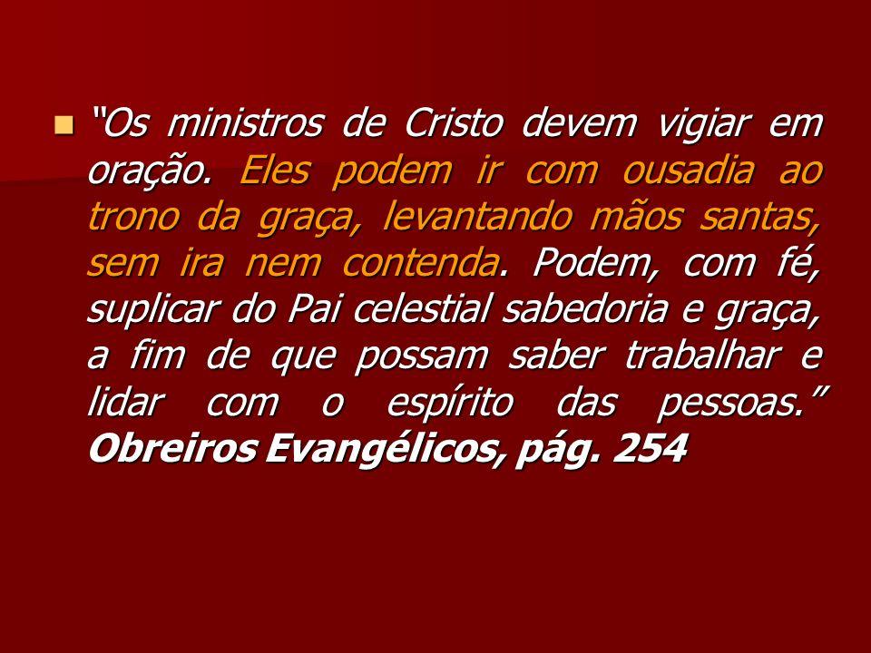 Os ministros de Cristo devem vigiar em oração