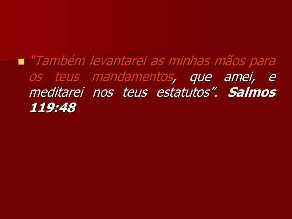 Também levantarei as minhas mãos para os teus mandamentos, que amei, e meditarei nos teus estatutos .