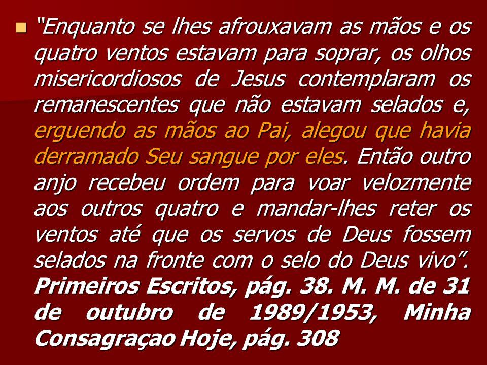 Enquanto se lhes afrouxavam as mãos e os quatro ventos estavam para soprar, os olhos misericordiosos de Jesus contemplaram os remanescentes que não estavam selados e, erguendo as mãos ao Pai, alegou que havia derramado Seu sangue por eles.