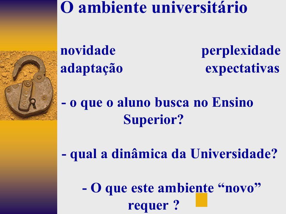O ambiente universitário. novidade perplexidade
