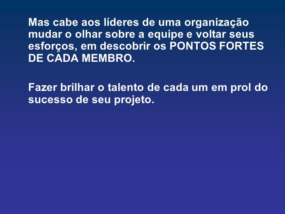 Mas cabe aos líderes de uma organização mudar o olhar sobre a equipe e voltar seus esforços, em descobrir os PONTOS FORTES DE CADA MEMBRO.