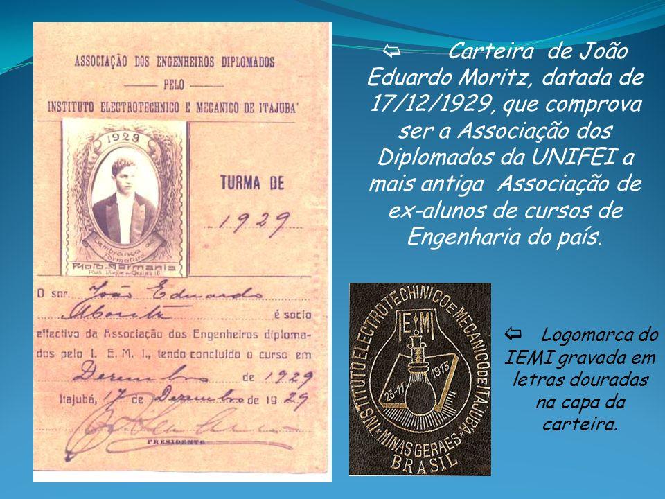 b Logomarca do IEMI gravada em letras douradas na capa da carteira.