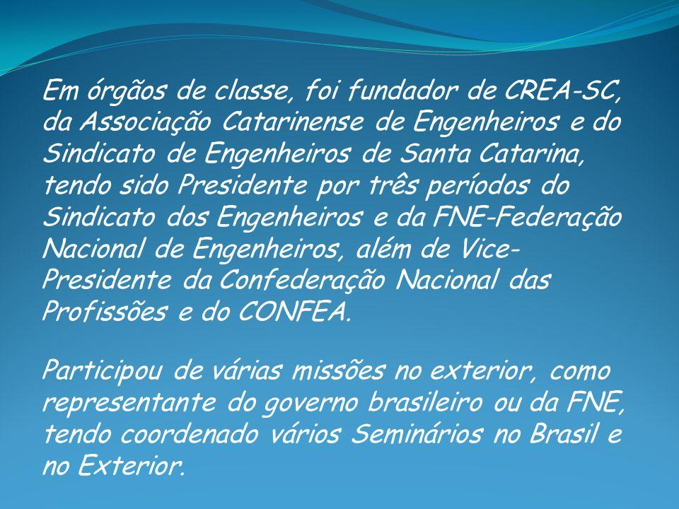 Em órgãos de classe, foi fundador de CREA-SC, da Associação Catarinense de Engenheiros e do Sindicato de Engenheiros de Santa Catarina, tendo sido Presidente por três períodos do Sindicato dos Engenheiros e da FNE-Federação Nacional de Engenheiros, além de Vice-Presidente da Confederação Nacional das Profissões e do CONFEA.