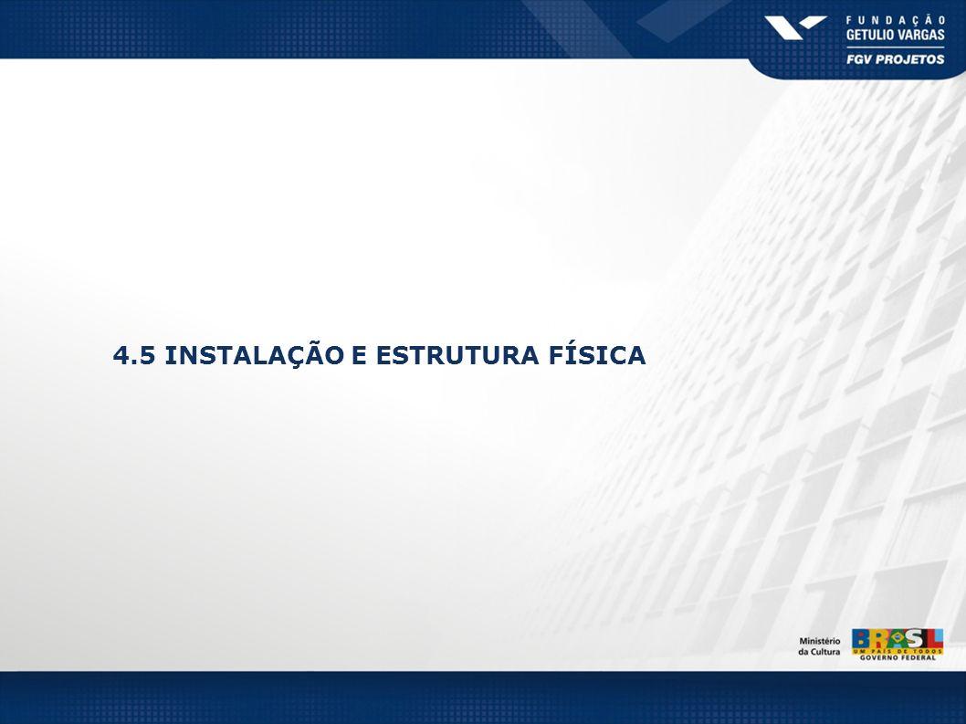 4.5 INSTALAÇÃO E ESTRUTURA FÍSICA
