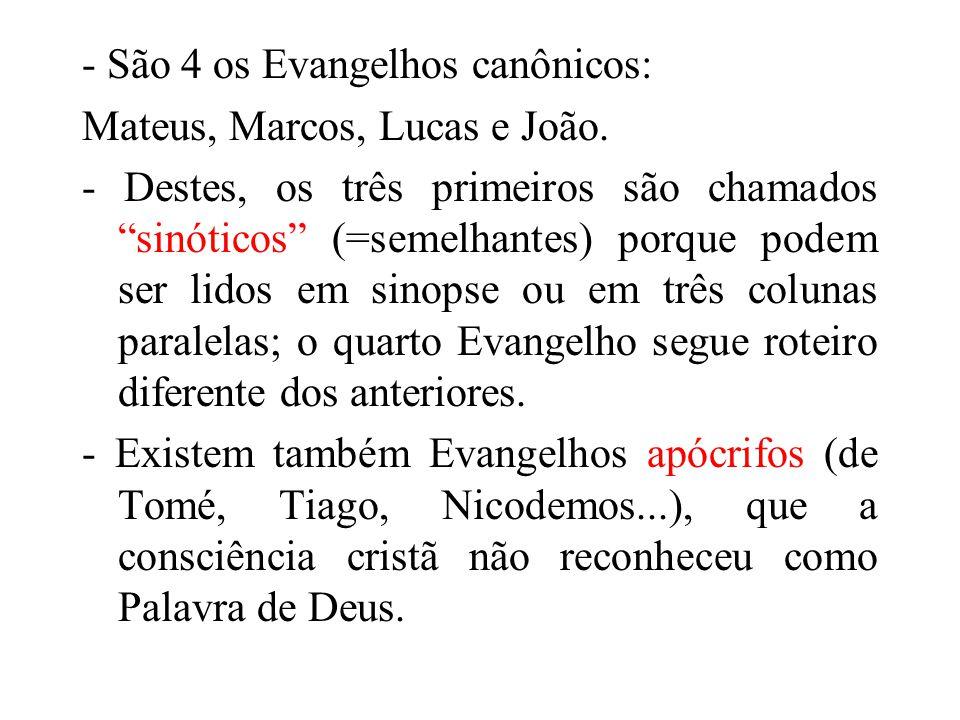 - São 4 os Evangelhos canônicos: