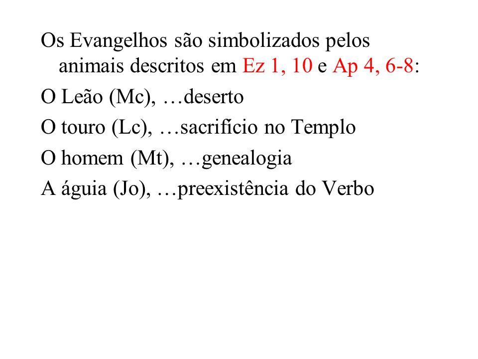 Os Evangelhos são simbolizados pelos animais descritos em Ez 1, 10 e Ap 4, 6-8: