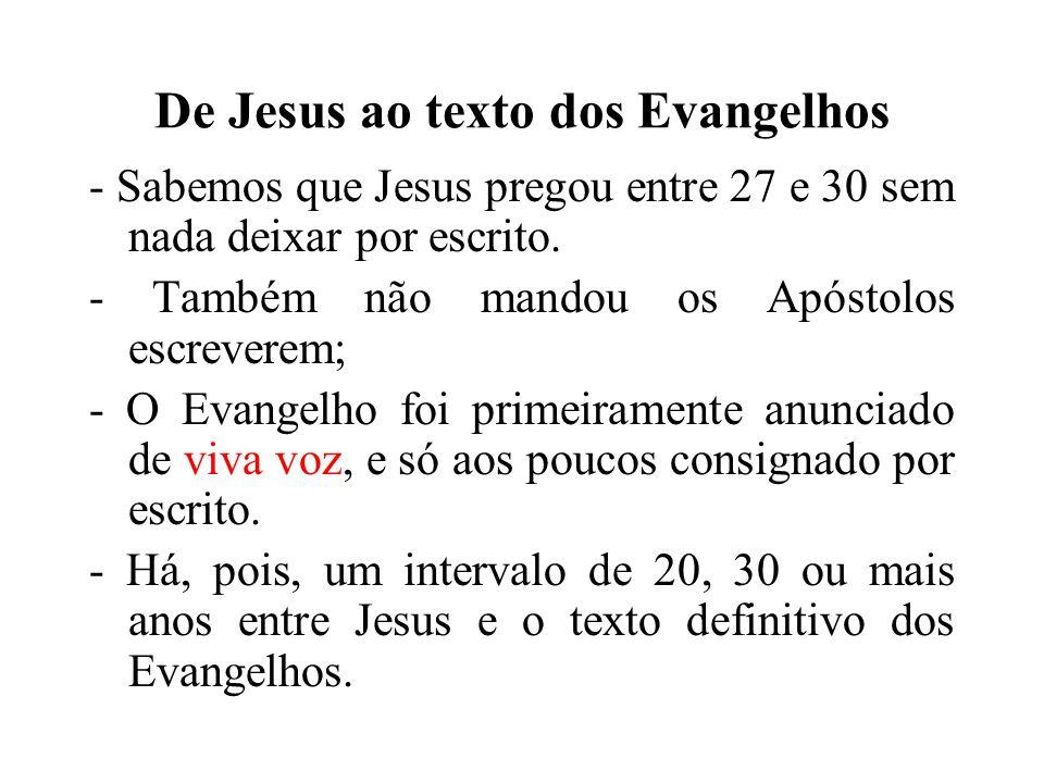 De Jesus ao texto dos Evangelhos