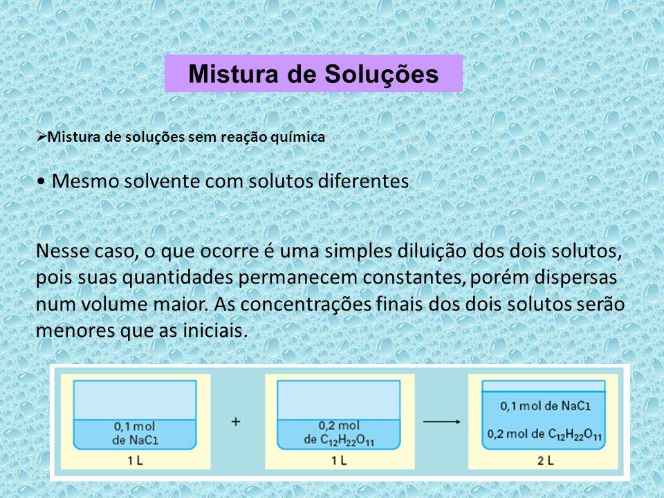 Mistura de Soluções Mesmo solvente com solutos diferentes