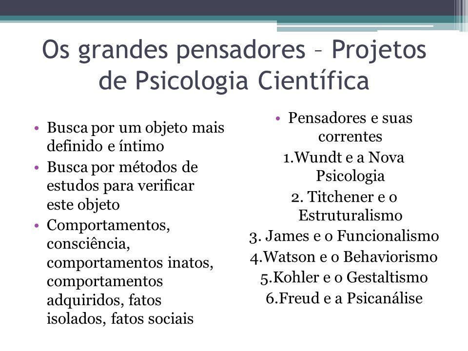 Os grandes pensadores – Projetos de Psicologia Científica