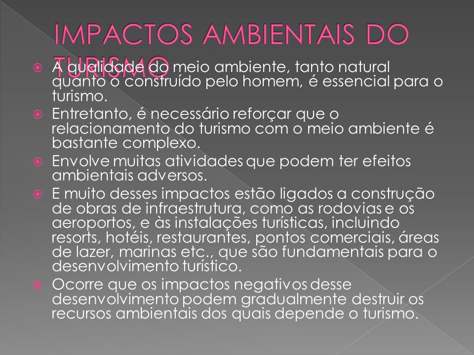 IMPACTOS AMBIENTAIS DO TURISMO