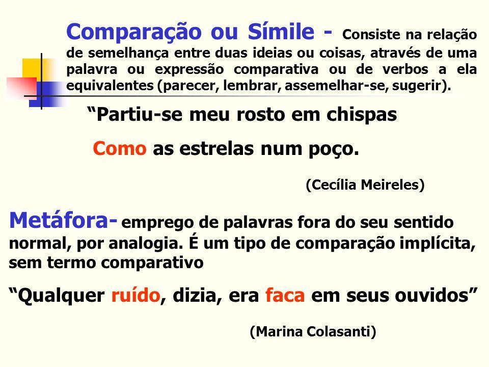 Comparação ou Símile - Consiste na relação de semelhança entre duas ideias ou coisas, através de uma palavra ou expressão comparativa ou de verbos a ela equivalentes (parecer, lembrar, assemelhar-se, sugerir).
