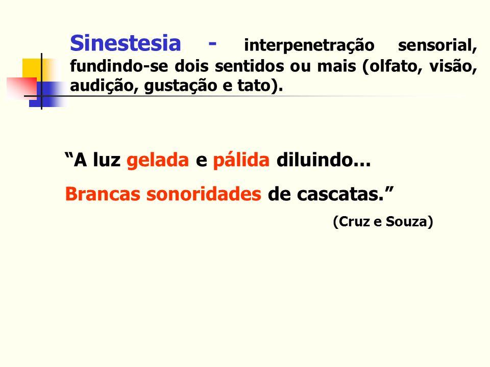 Sinestesia - interpenetração sensorial, fundindo-se dois sentidos ou mais (olfato, visão, audição, gustação e tato).