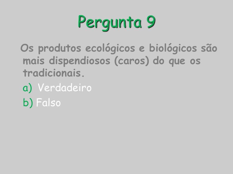 Pergunta 9 Os produtos ecológicos e biológicos são mais dispendiosos (caros) do que os tradicionais.