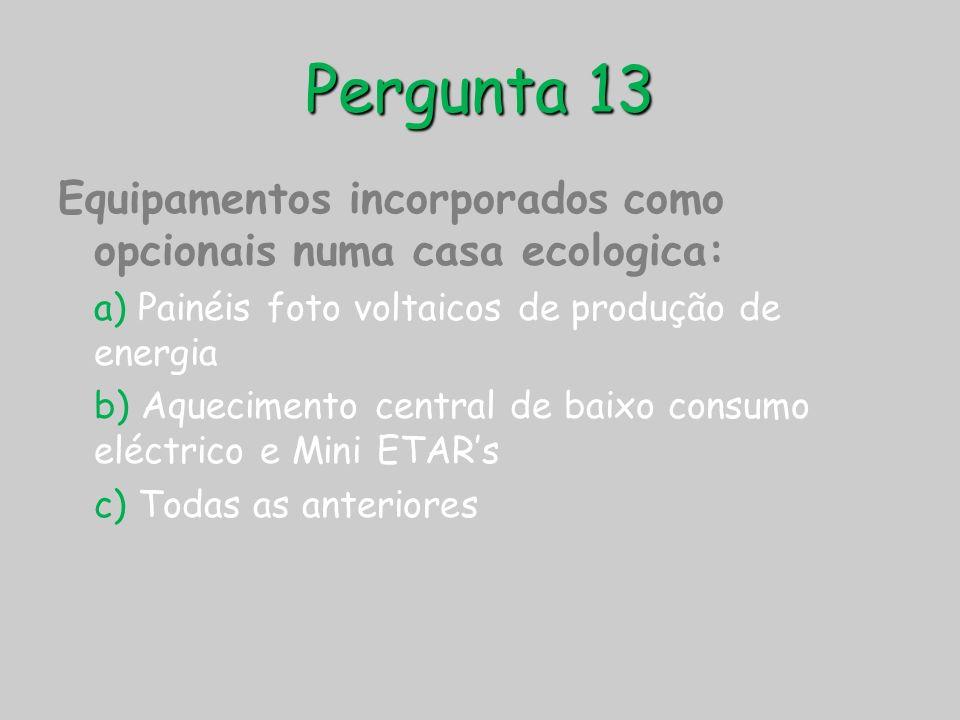 Pergunta 13 Equipamentos incorporados como opcionais numa casa ecologica: a) Painéis foto voltaicos de produção de energia.