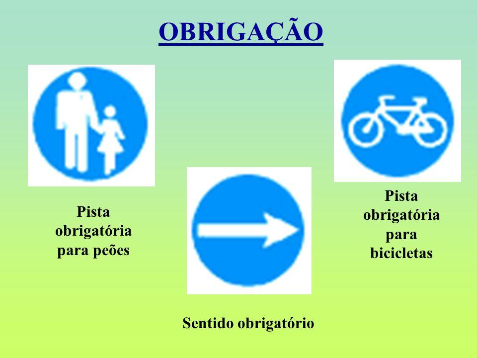 Pista obrigatória para bicicletas Pista obrigatória para peões
