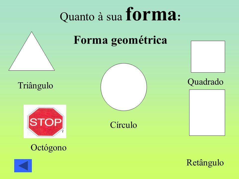 Quanto à sua forma: Forma geométrica Quadrado Triângulo Círculo