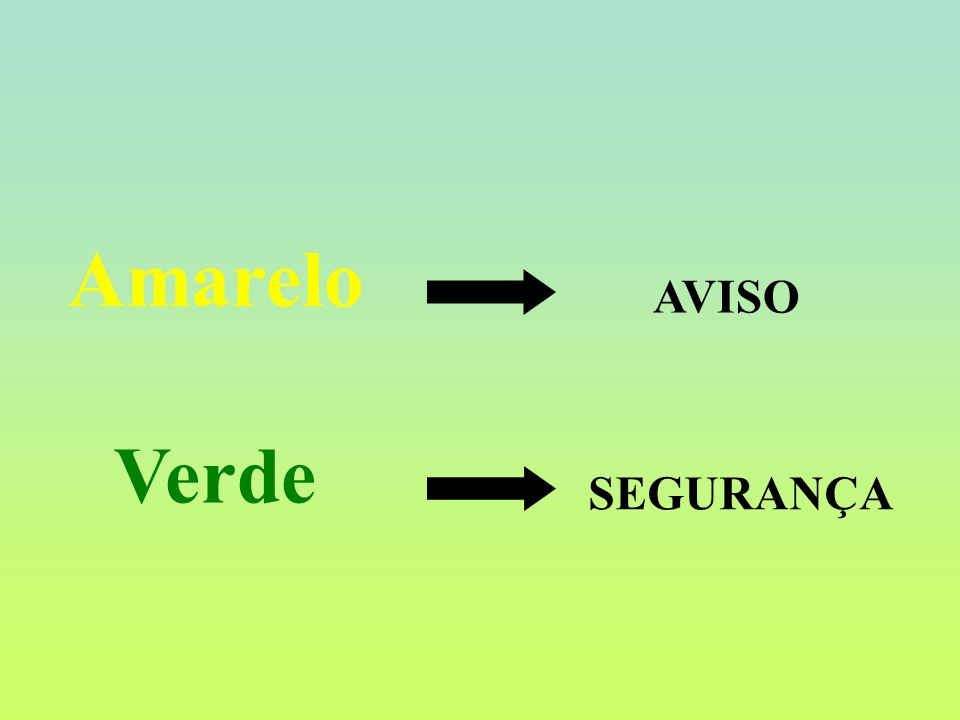 Amarelo AVISO Verde SEGURANÇA