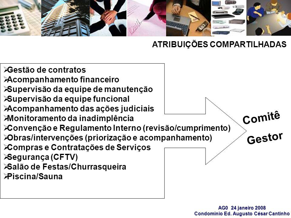 Comitê Gestor ATRIBUIÇÕES COMPARTILHADAS Gestão de contratos