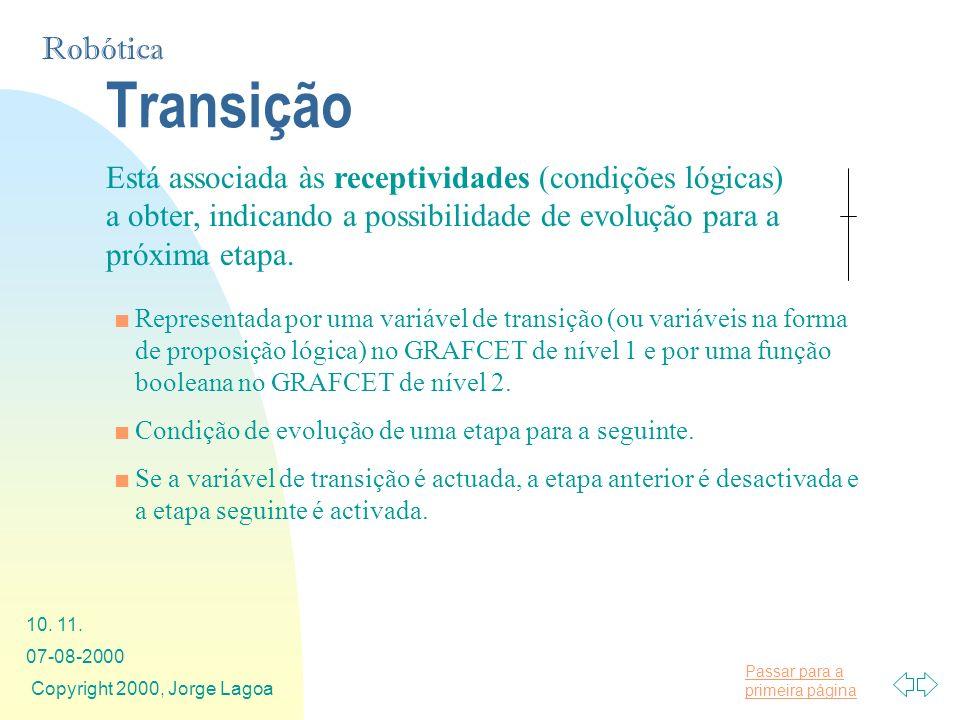 Transição Está associada às receptividades (condições lógicas) a obter, indicando a possibilidade de evolução para a próxima etapa.