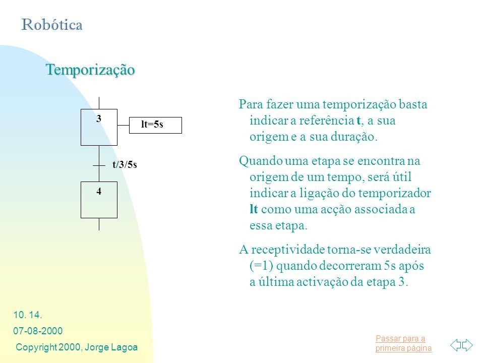 Temporização Para fazer uma temporização basta indicar a referência t, a sua origem e a sua duração.