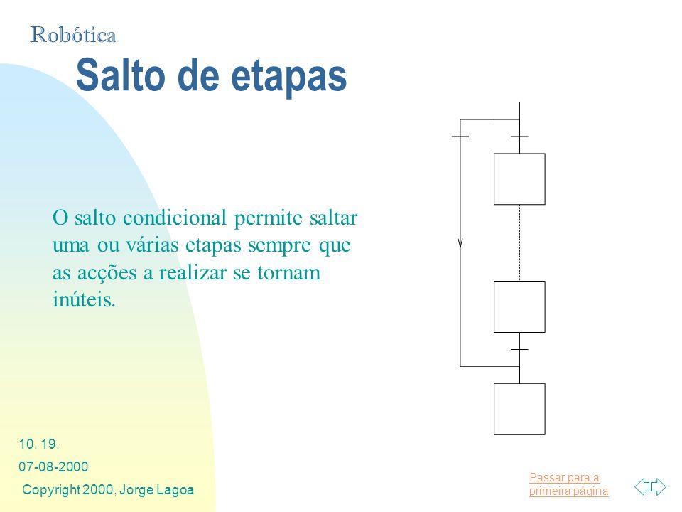 Salto de etapas O salto condicional permite saltar uma ou várias etapas sempre que as acções a realizar se tornam inúteis.