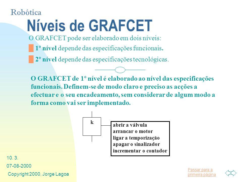 Níveis de GRAFCET O GRAFCET pode ser elaborado em dois níveis: