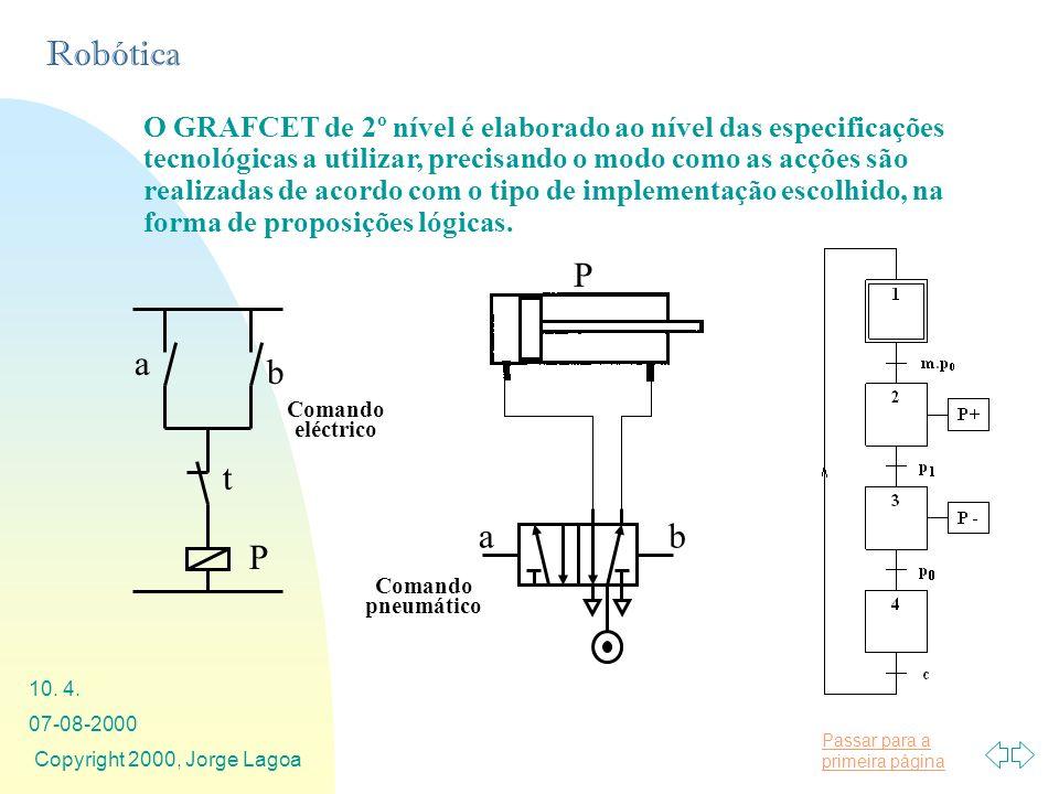 O GRAFCET de 2º nível é elaborado ao nível das especificações tecnológicas a utilizar, precisando o modo como as acções são realizadas de acordo com o tipo de implementação escolhido, na forma de proposições lógicas.