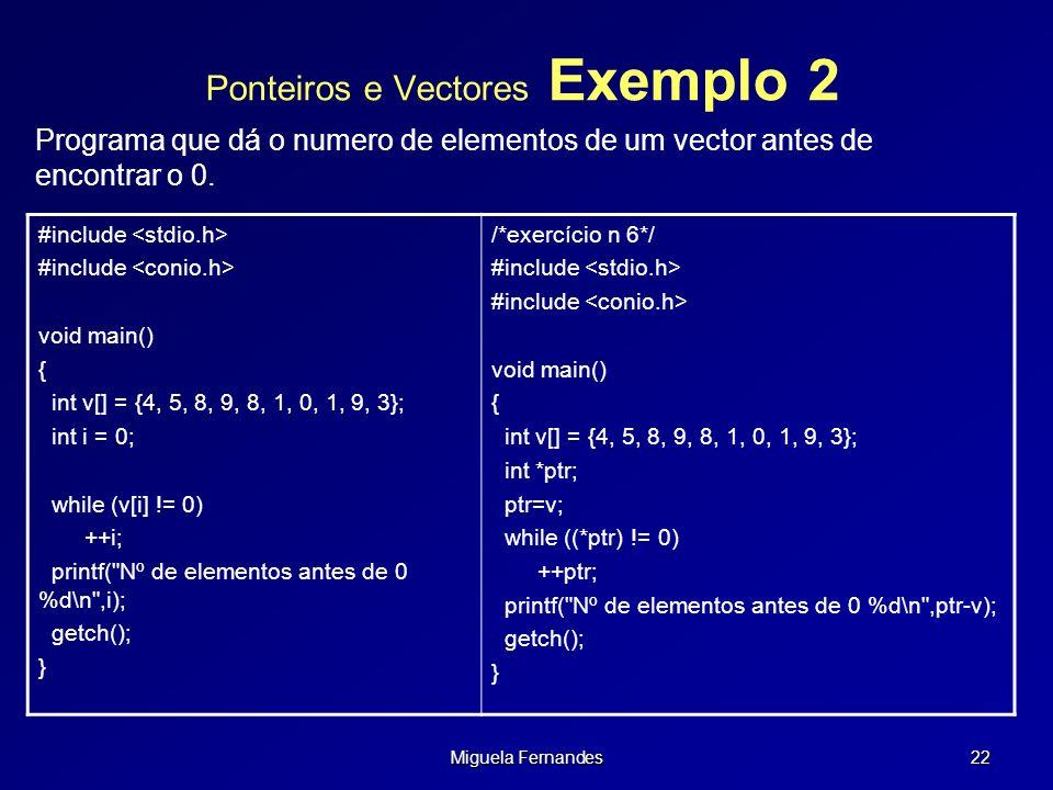Ponteiros e Vectores Exemplo 2