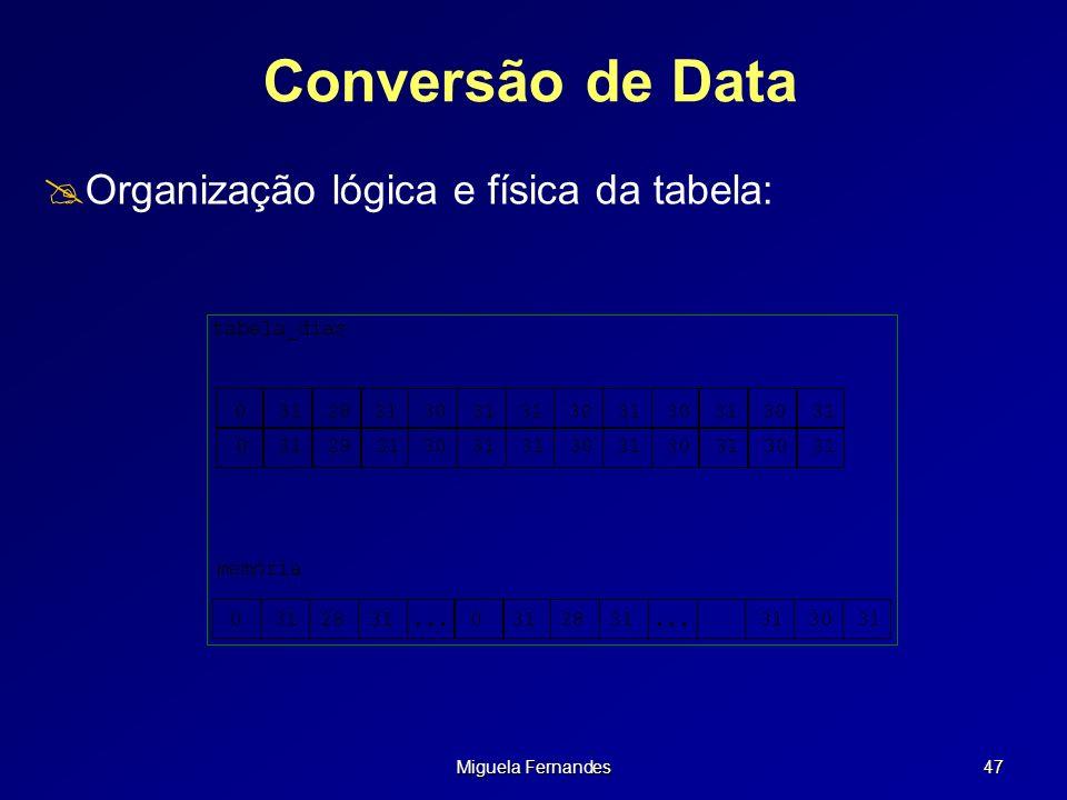 Conversão de Data Organização lógica e física da tabela: