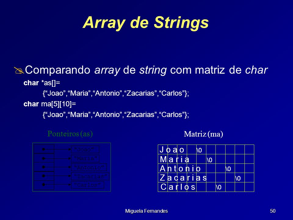 Array de Strings Comparando array de string com matriz de char