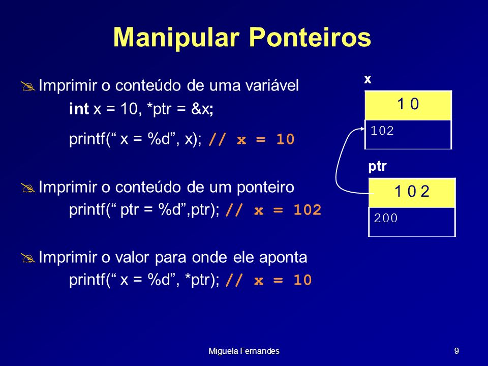 Manipular Ponteiros 1 0 Imprimir o conteúdo de uma variável