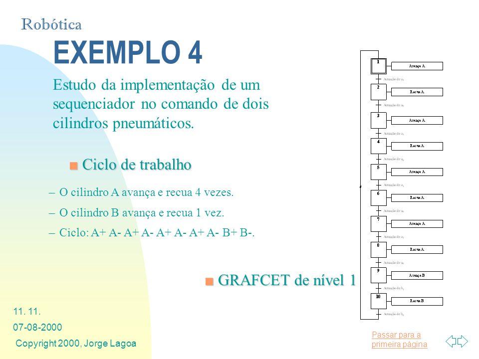 EXEMPLO 4 Estudo da implementação de um sequenciador no comando de dois cilindros pneumáticos. Ciclo de trabalho.