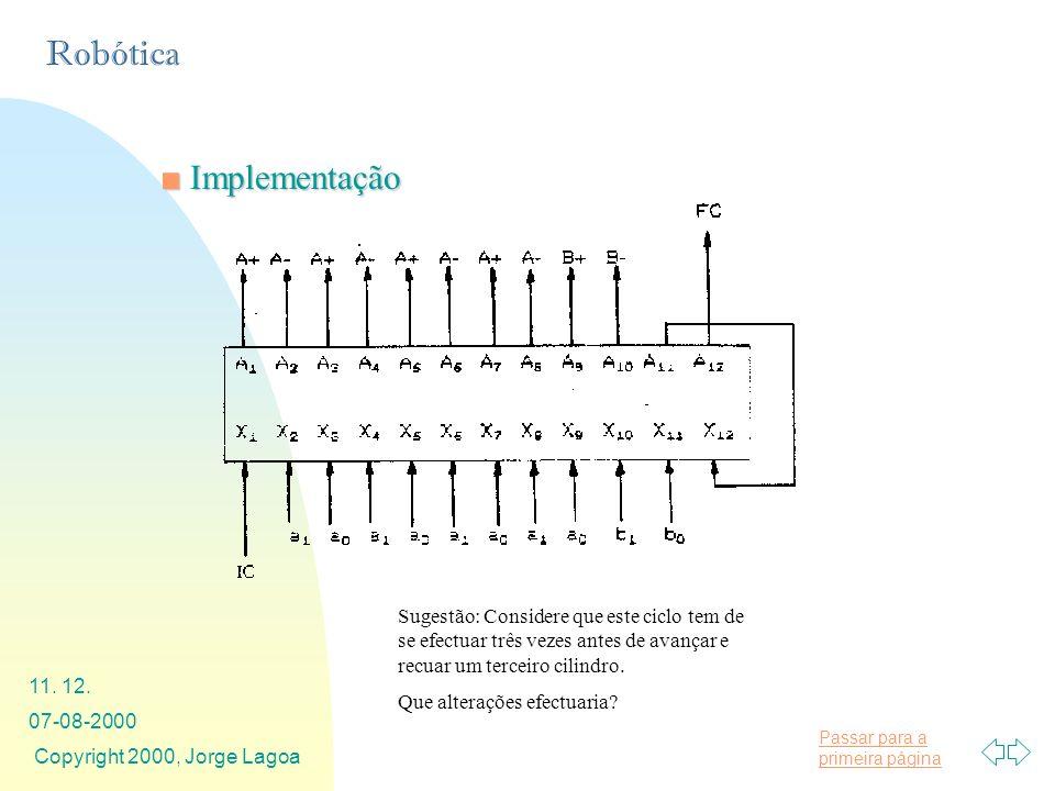 Implementação Sugestão: Considere que este ciclo tem de se efectuar três vezes antes de avançar e recuar um terceiro cilindro.