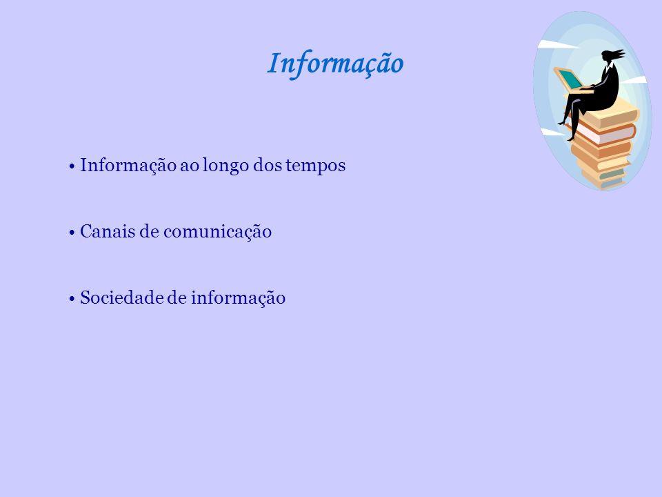 Informação Informação ao longo dos tempos Canais de comunicação