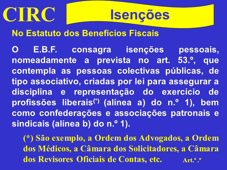 CIRC Isenções No Estatuto dos Benefícios Fiscais