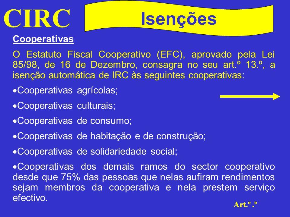 CIRC Isenções Cooperativas