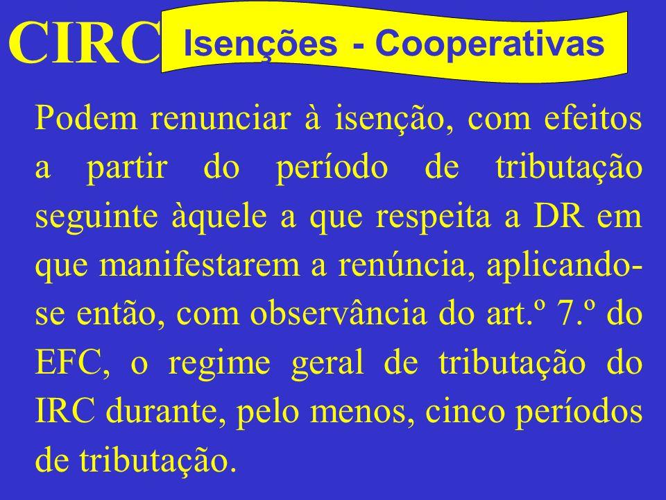 Isenções - Cooperativas