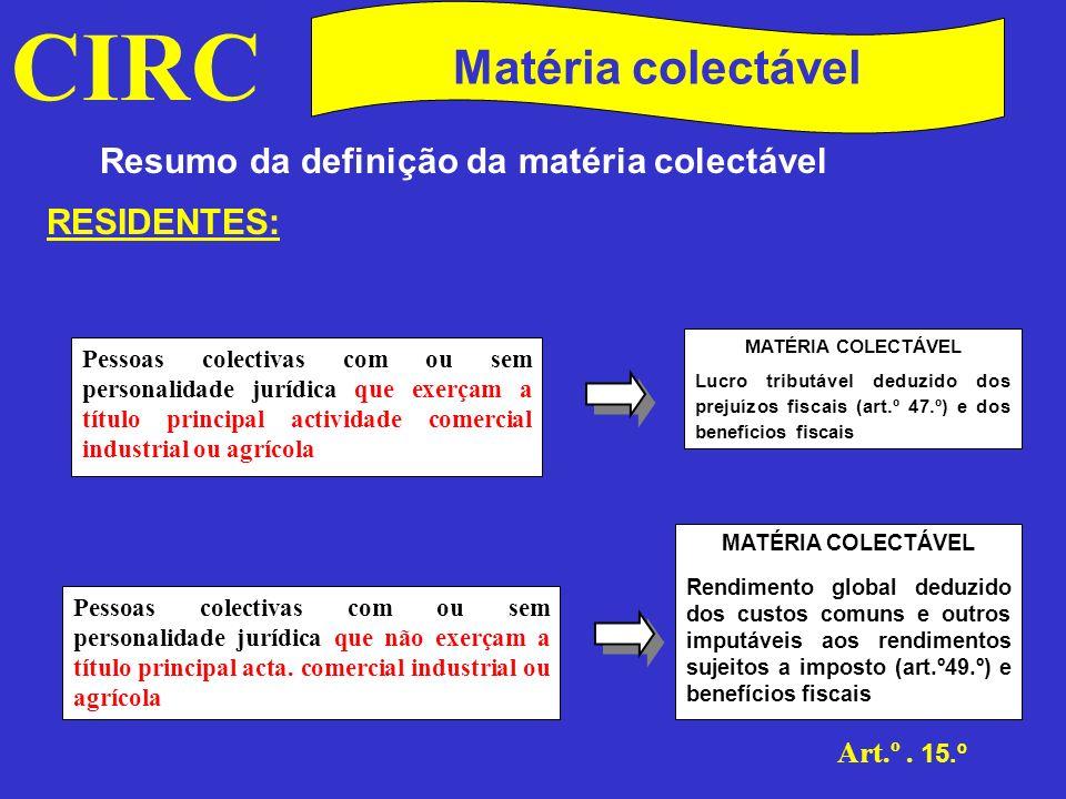 CIRC Matéria colectável Resumo da definição da matéria colectável