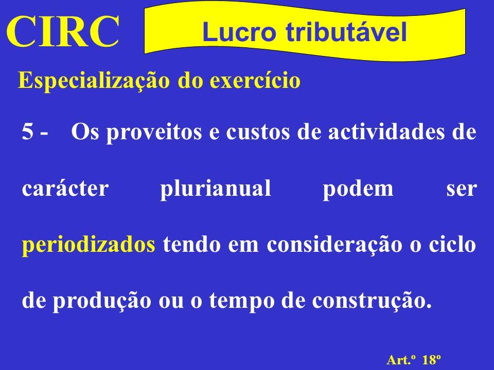 CIRC Lucro tributável Especialização do exercício