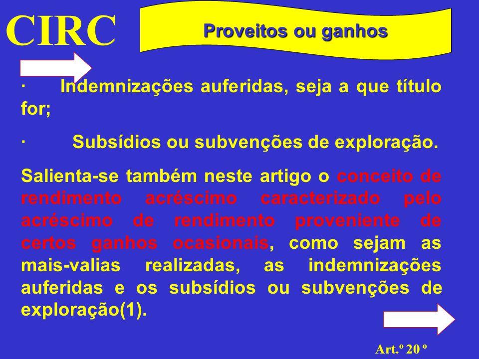 CIRC Proveitos ou ganhos