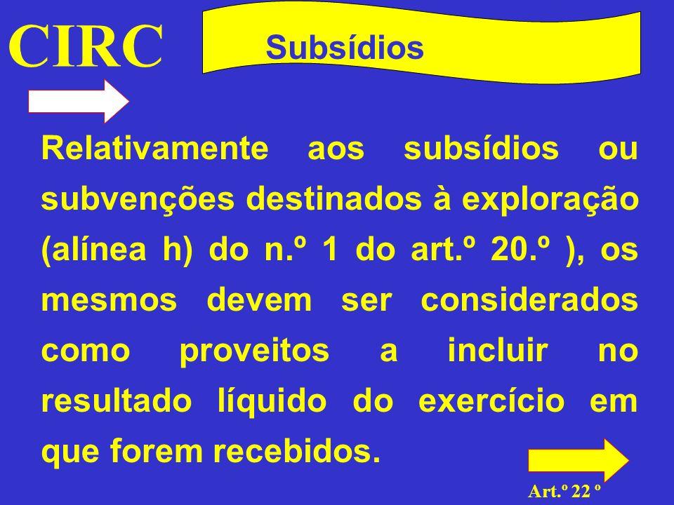 CIRC Subsídios Subsídios