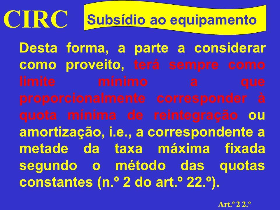 CIRC Subsídios Subsídio ao equipamento