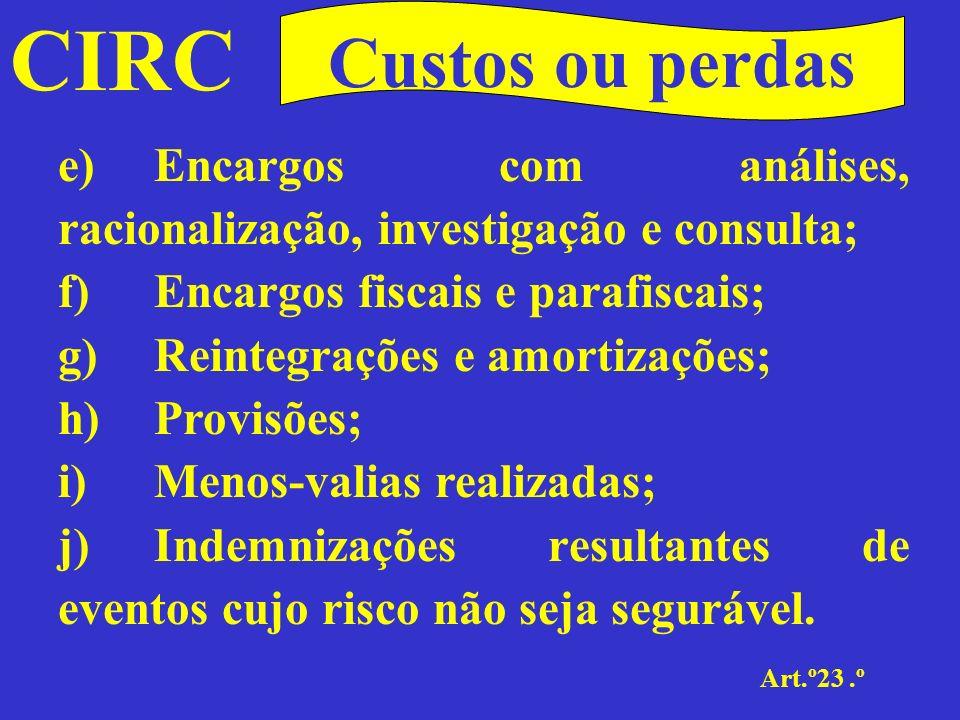 CIRC Custos ou perdas. e) Encargos com análises, racionalização, investigação e consulta; f) Encargos fiscais e parafiscais;